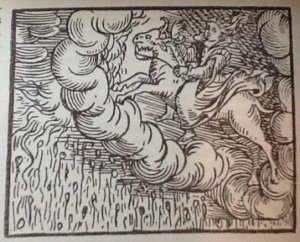 Woodcut of a woman riding a goat from Guazzo's Compendium Maleficarum (1608)