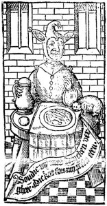 A jester dining on rats from an early English printed bestiary (oddly with Dutch text). #WoodcutWednesday #earlymodern