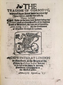 William Griffith's 1565 edition of The Tragedie of Gorboduc